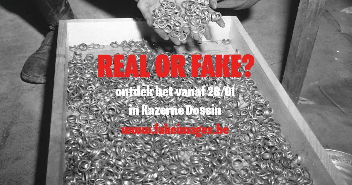 Real or Fake? written in bold letters over the image of a person holding dozens of rings with hundreds more in a box below.