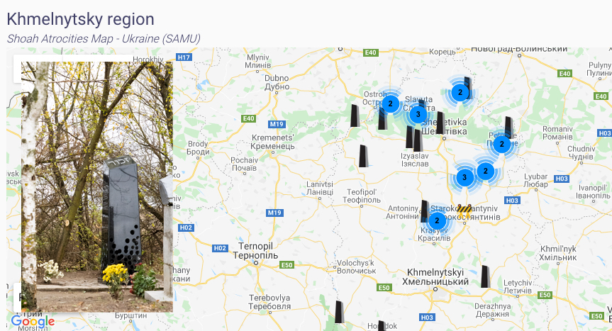 Map of atrocities of the Shoah in Ukraine
