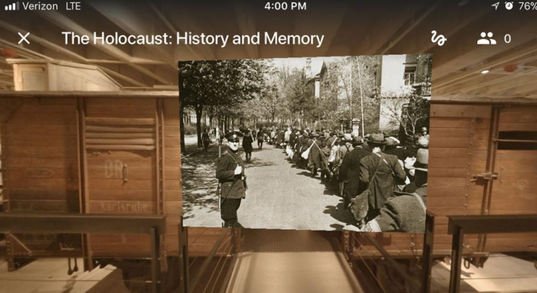 Virtual view of the United States Holocast Memorial Museum exhibition on phone screen
